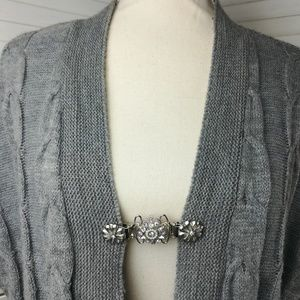 Silver and Rhinestone Sweater Cardigan Clip